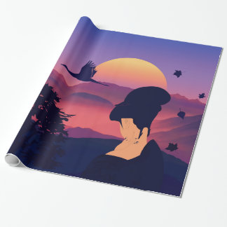 Japanese Theme Geisha Tree And Rising Sun Wrapping Paper