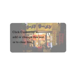 Japanese Themed, A Woman Inside Japan Ramen Restau Address Label