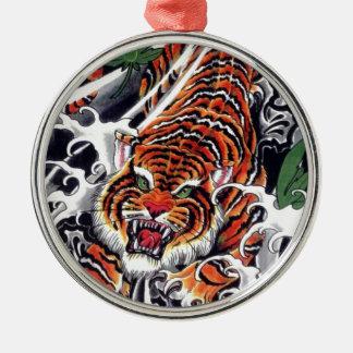 Japanese Tiger & Maple Design Christmas Ornament