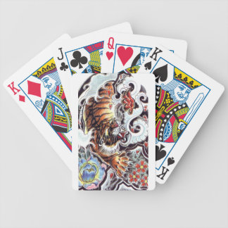 Japanese Tiger Tattoo Bicycle Poker Deck