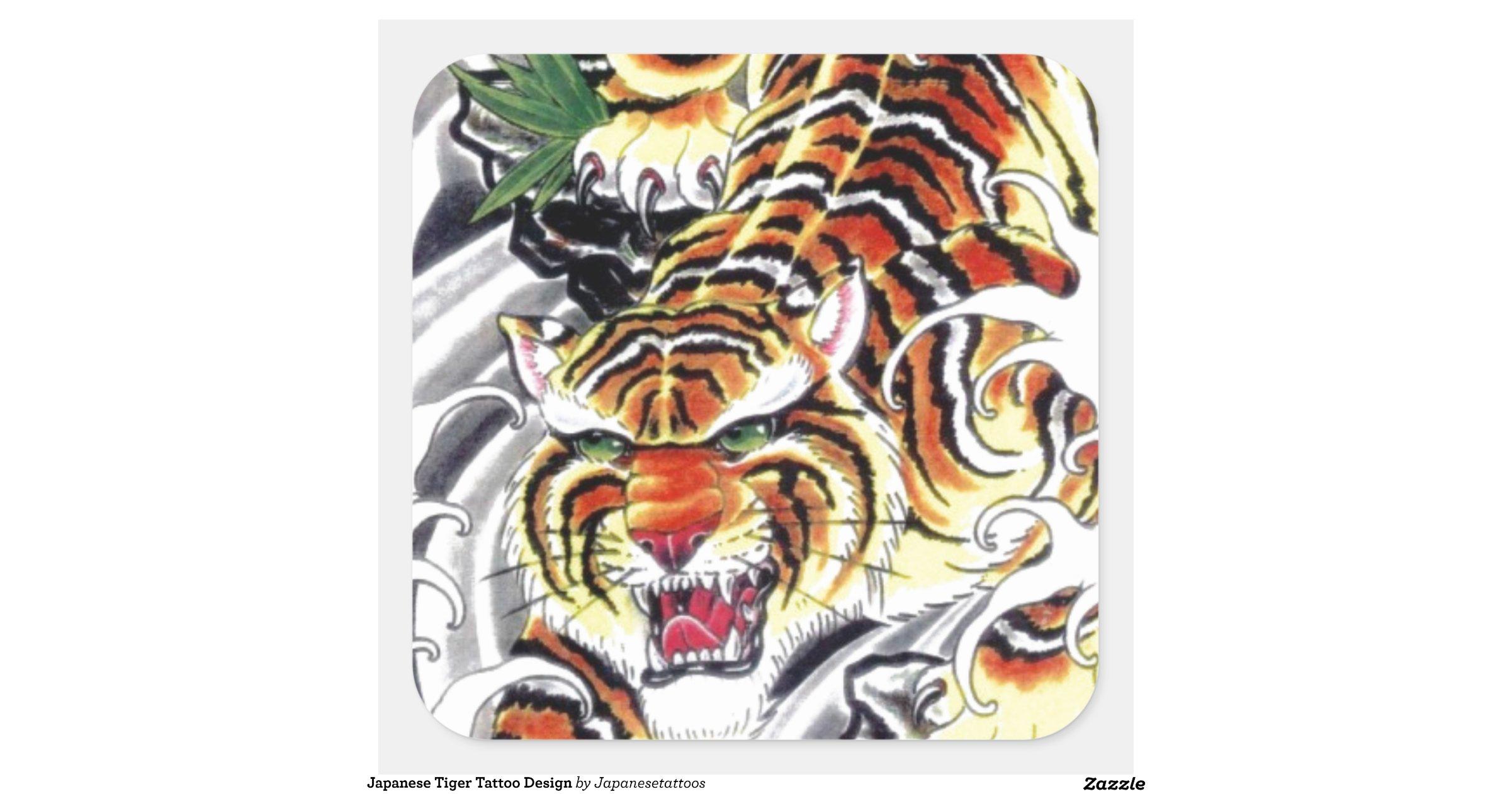 japanese tiger tattoo design square sticker zazzle. Black Bedroom Furniture Sets. Home Design Ideas
