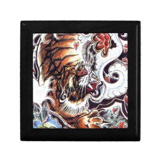 Japanese Tiger Tattoo Small Square Gift Box