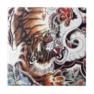 Japanese Tiger Tattoo Small Square Tile