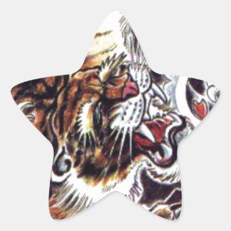 Japanese Tiger Tattoo Star Stickers