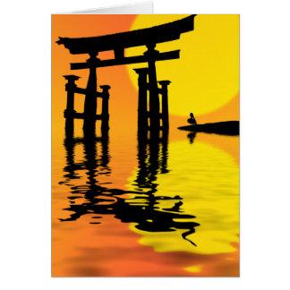 Japanese Torii (gate) sunset drawing Card