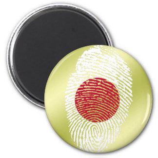 Japanese touch fingerprint flag 6 cm round magnet
