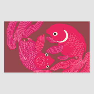 Japanese traditional pattern - Goldfish swimming Rectangular Sticker