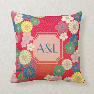 Japanese Traditional Pattern With Monogram Frame Throw Pillow