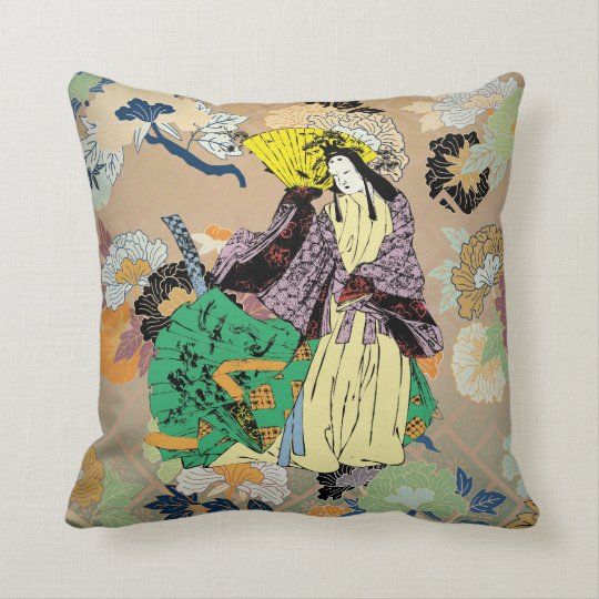 Japanese Traditional Women with Flower Pattern Throw Pillow