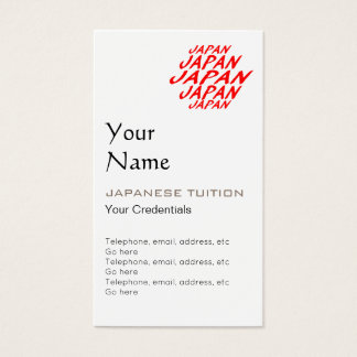 Japanese Tutor Appointment Business Cards
