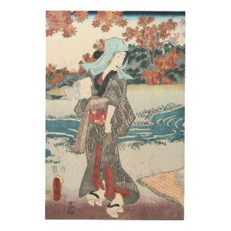 Japanese Ukiyo-e Momiji to onna by Kunisada Wood Print