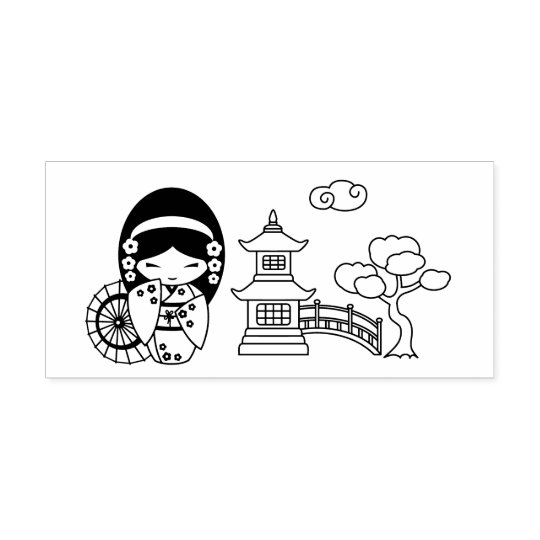 Japanese Umbrella Geisha Girl in Kimono Rubber Stamp