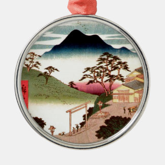 Japanese Village with Mountain Silver-Colored Round Decoration