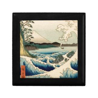 Japanese Vintage Art Sea of Satta Hiroshige Small Square Gift Box