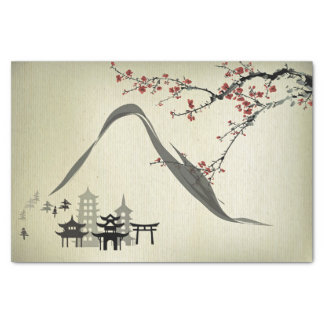 Japanese,vintage,cherry blossom,water colour,art,r tissue paper