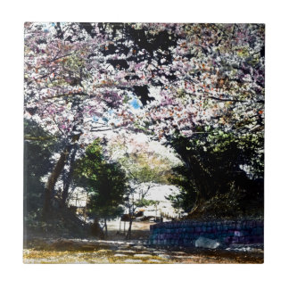 Japanese Vintage Cherry Blossoms Small Square Tile