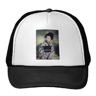 Japanese Vintage Geisha Beauty Magic Lantern Slide Cap
