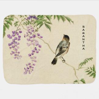 Japanese Vintage Lilac Sparrow Baby Blanket