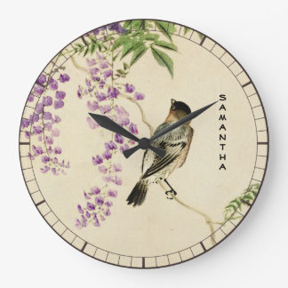 Japanese Vintage Lilac Sparrow Wall Clock