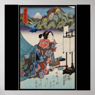 Japanese Vintage Ukiyo-e Lady Mountain Scene Poster