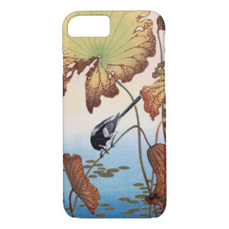 Japanese Wagtail on Lotus Woodblock Print iPhone 7 Case