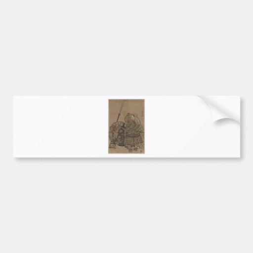 Japanese Warrior Monk Benkei with Naginata Bumper Sticker