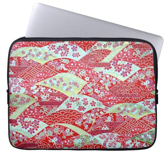 Japanese Washi Art Red Floral Origami Yuzen Laptop