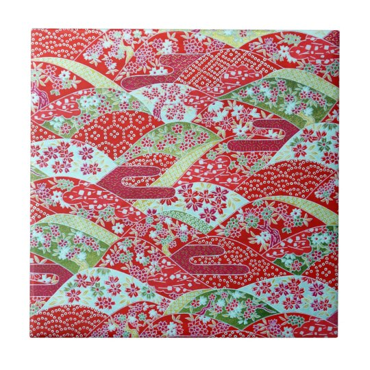 Japanese Washi Art Red Floral Origami Yuzen Tile