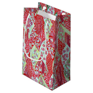 Japanese Washi Red Floral Origami Yuzen Gift Bag