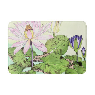Japanese Water Lily Bloom Bath Mats