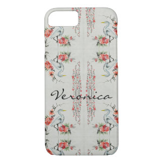 Japanese Watercolor Floral & Crane Custom Cases