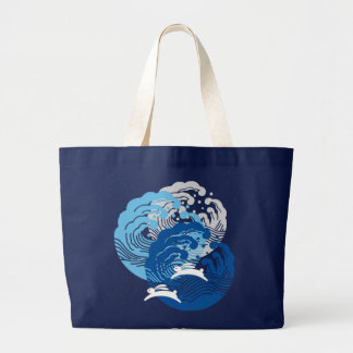 Japanese Wave & White Rabbit Large Tote Bag