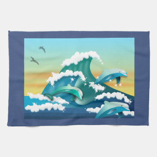 JAPANESE WAVES, JAPAN ART, DOLPHINS AND SEAGULLS TEA TOWEL
