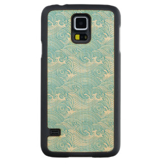 Japanese Waves Pattern in Ocean Colors Carved Maple Galaxy S5 Case