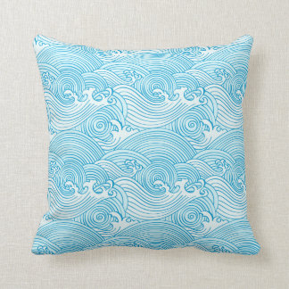 Japanese Waves Pattern in Ocean Colors Cushion