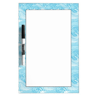 Japanese Waves Pattern in Ocean Colors Dry Erase Board