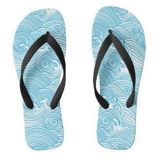 Japanese Waves Pattern in Ocean Colors Flip Flops