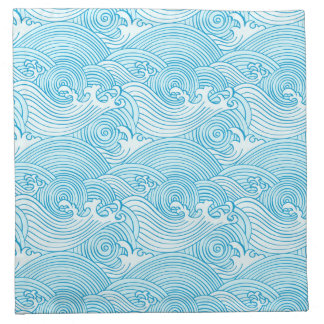 Japanese Waves Pattern in Ocean Colors Napkin