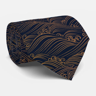 Japanese Waves Pattern Navy Blue and Gold Brown Tie