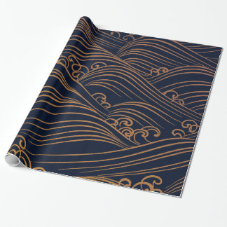 Japanese Waves Pattern Navy Blue and Gold Brown Wrapping Paper