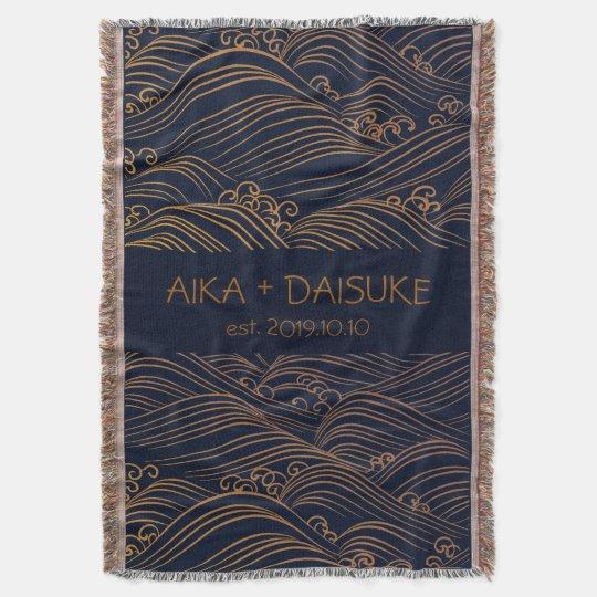 Japanese Waves Pattern Personalised Wedding Gift Throw Blanket