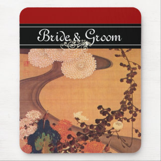 Japanese Wedding Chrysanthemums by a stream Mouse Pad