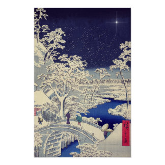 Japanese winter scene painting poster