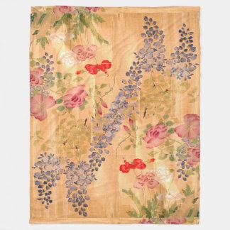 Japanese Wisteria Roses Flowers Floral Garden Fleece Blanket