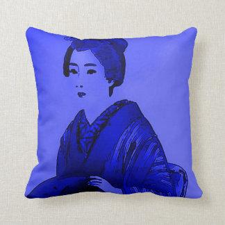 Japanese Woman Blue Pop Art Plush Throw Pillow