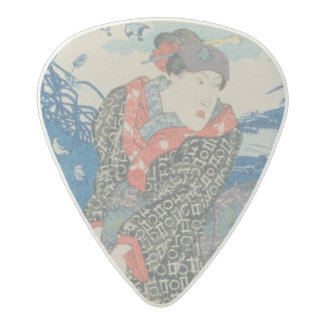 Japanese woman by the sea (colour woodblock print) acetal guitar pick