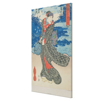 Japanese woman by the sea (colour woodblock print) canvas print
