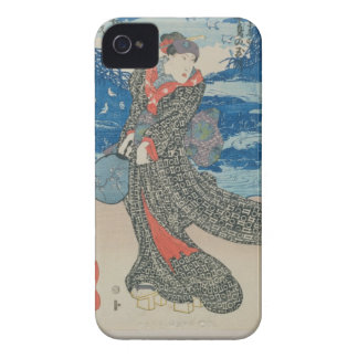 Japanese woman by the sea (colour woodblock print) iPhone 4 covers