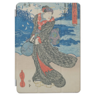 Japanese woman by the sea (colour woodblock print) iPad air cover
