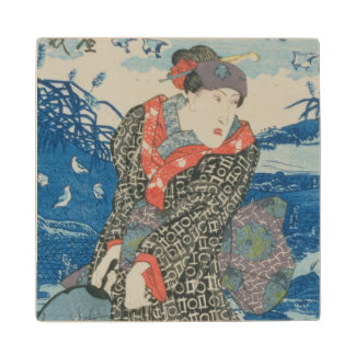 Japanese woman by the sea (colour woodblock print) maple wood coaster